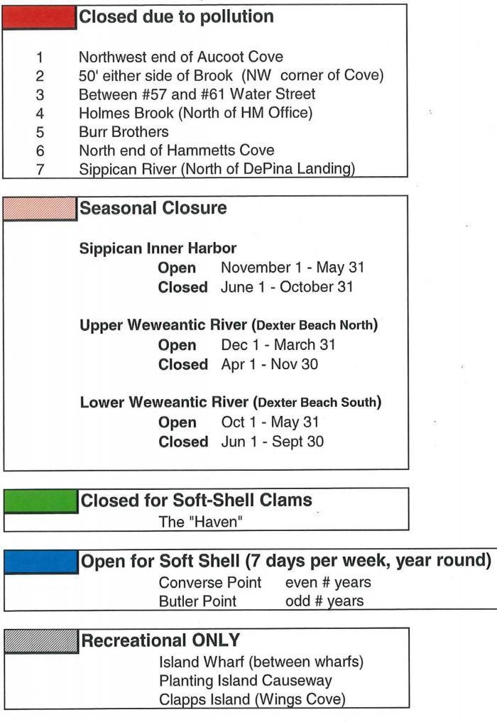Shellfish Areas List and Seasons